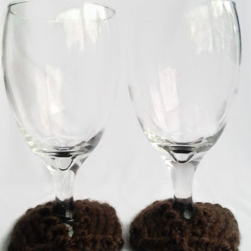 Wine Glass Coasters, Hand Knit, Brown, Wine Glass Slippers, Wine Glass Accessory, Kitchen Accessories