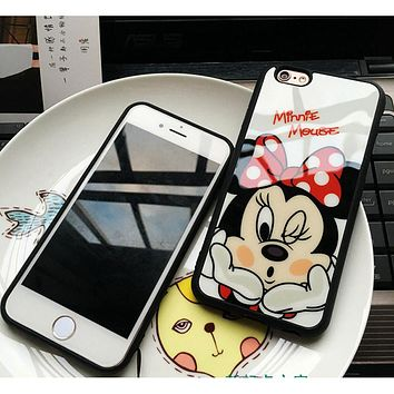 Luxury Cute Minnie Mickey Acrylic mirror Case for iPhone 5s Cases 5 6 6s Plus Cover for iphone 7 Case for iPhone 7 plus cases 10