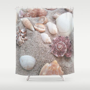 Sandy Seashells Shower Curtain  - beach photography, island, shore, shells - fabric curtain, coastal decor, ocean, modern, bathroom ideas