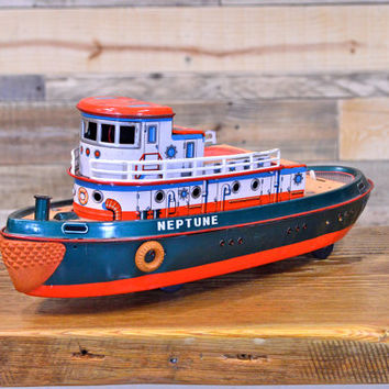 Vintage Tin Toy Boat, WORKS, Tin Neptune Tugboat, 1950s Toy Boat