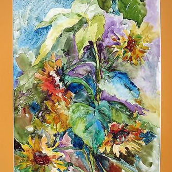Sunflower Watercolor Painting on Vellum Signed S B Ennis Expressionism Floral