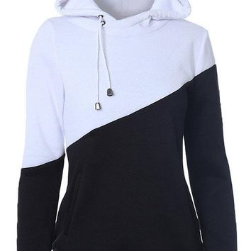 Black and white Colour Matching Drawstring Hooded Hoodie