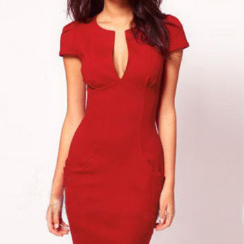 Red Deep V-Neck Short Sleeve Bodycon Midi Pencil Dress