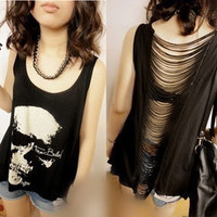 Skull Head Print Vest with Cut Out Back from ChicMall