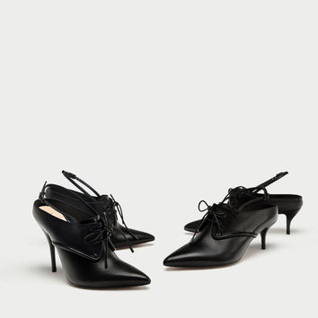 TIED HIGH HEEL LEATHER SLINGBACK SHOES DETAILS