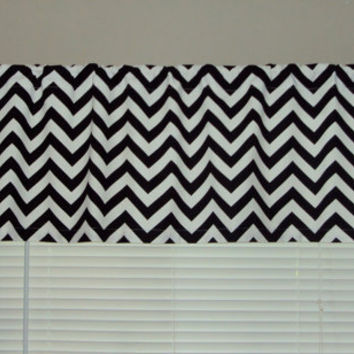 50x14 Modern Chevron Black Zig Zag Cotton Valance Window Treatment