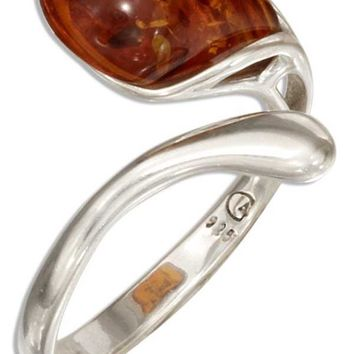 Sterling Silver Ring:  Adjustable Single Teardrop Honey Baltic Amber Bypass Ring
