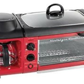 NEW! Nostalgia Electrics BSET300RETRORED Retro Series 3-in-1 Breakfast Station