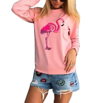 New Arrival Casual Flamingo Print Women Sweatshirt Autumn Long Sleeve Pullover Hoodies 2017 Female Pullovers mujer Pink/Gray/Red