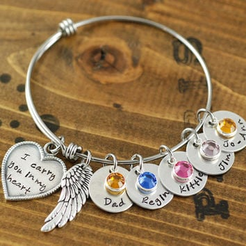Personalized Bangle Bracelet I Carry You In My Heart Silver Charm
