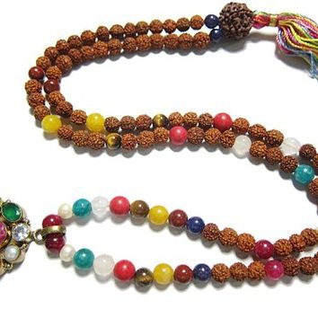 Yoga Gift for Her- Navratna Nine Stone Rosary Mala Prayer Beads Prayer Necklace Meditation Mala
