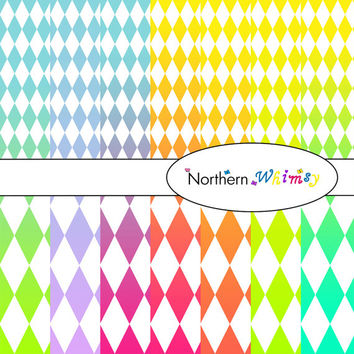Digital Scrapbooking Paper Background Set – multi-color ombre package in large and small harlequin (diamond) patterns INSTANT DOWNLOAD