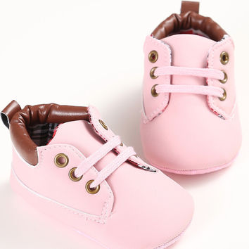 New Girl Simple Outside Sport PU Leather Lace-Up Shoes First Walkers Kids Sneakers Sapatos Infantil Bebe Soft Sole Prewalker