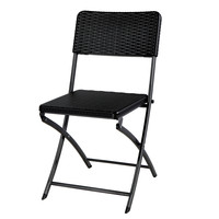 Black Rattan Design Folding Chair