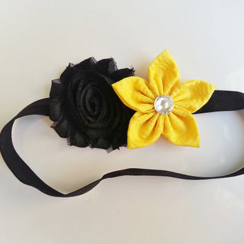 Bumble Bee Headband, Yellow Toddler Headband, Bee Costume Headband, Shabby Baby Headband, Summer Headband