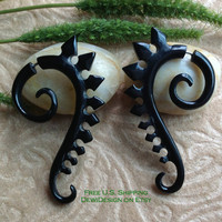"Fake Gauge Earrings, ""Spiked Spirals"" Hand Carved, Horn, Naturally Organic, Tribal"