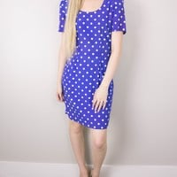 Vintage 80s Polka Dot Mini Shift Dress