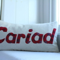 Handmade Cariad Cushion meaning love or darling in Welsh!