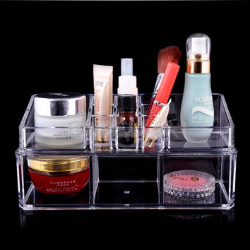 Clear Acrylic Cosmetic Organizer Makeup Holder Case Jewelry Display Storage Box