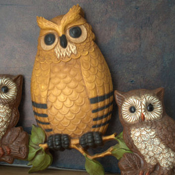 Vintage Owl Wall Art, Owl Home Decor, Woodland Wall Hanging, Homeco Wall Decor