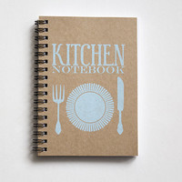 Recipe book, kitchen book, recipe organizer, kraft paper notebook, pocket notebook, blank book, kitchen accessories, kitchen print blue