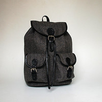 Woolen Herringbone Backpack