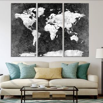 N14453 - Modern Large Black Push Pin World Map Wall Art Canvas Print for Living Room Decor Art- Ready to Hang