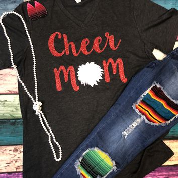Charcoal with Red Glitter Cheer Mom T-Shirt