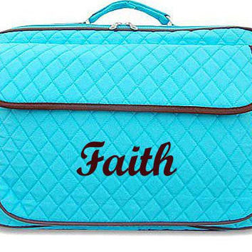Monogrammed Laptop Case  Turquoise with Brown Trim Personalized Laptop Case  Embroidery Monogram Laptop Bag