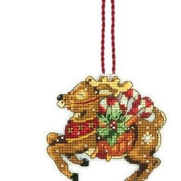 Counted Cross Stitch Kit Deer Ornament Christmas for Tree Ornaments Gift Dim 08916