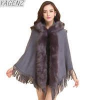 YAGENZ 2017 Europe and the United States Autumn Winter Women Fur Shawl Coat Women Fur Collar Hooded Tassel Knitted Cloak Sweater