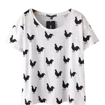 White Cock Printed T-shirt