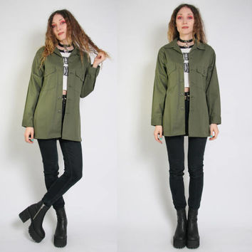 Vintage Green Military Jacket - Green Army Jacket - Oversized - Army Jacket - Grunge - USA Army Jacket - 90s 80s Vintage - Goth