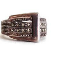 Sterling Silver and Marcasite Buckle Ring, Silver Ring, Vintage Ring, Vintage Jewelry, Statement Ring, Estate Jewelry, Sterling Silver Ring