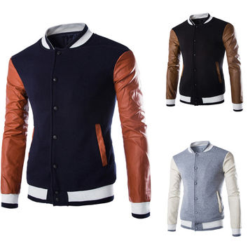 Mens Slim Hip Varsity Jacket