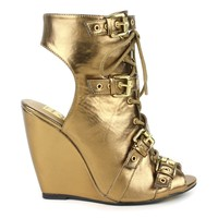 Fahrenheit Rashida-08 Lace-up wedge sandals in Bronze @ ippolitan.com