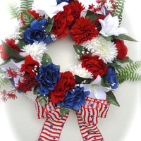 Cemetery Floral Memorial Remembrance Wreath - Patriotic Wreath, Memorial Day Wreath, Fourth of July Wreath, Labor Day Wreath