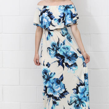 Floral Forever Off Shoulder Flutter Maxi Dress {Ivory Mix}
