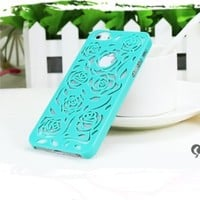 Lewire Cut Out Rose Flower Hard Protective Snap Phone Case for iPhone 5/5S Color White