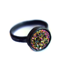 Scratch Band Drusy Solitaire- Oxidized Edition - Rainbow 10mm Stone