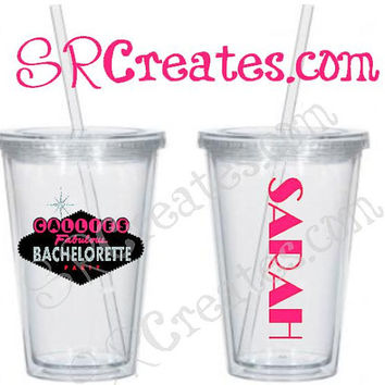 Bachelorette Party/Girl's Night Vegas Style Tumbler - Made with GLITTER!!!