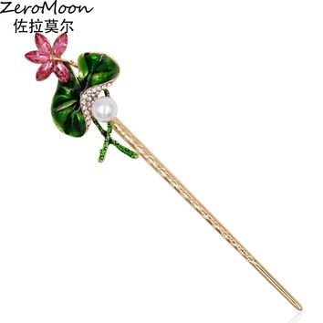 Vintage Hairpin Jewelry Chinese Style Enamel Lotus Leaf Pearl Water Lily Hair Sticks For Women Crystal Rhinestone Accessory