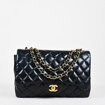 """Chanel Black Lambskin Quilted Leather """"Jumbo Classic Single Flap"""" Bag"""