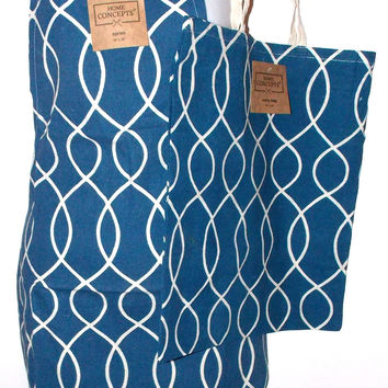Blue White Apron & Carry Bag Tote Set 2 Home Concepts Casa Printed 100% Cotton