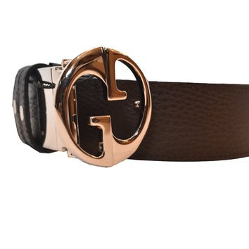 Gucci Belt Reversible Brown and Navy 449715 Size 42 Leather belt with Double G buckle