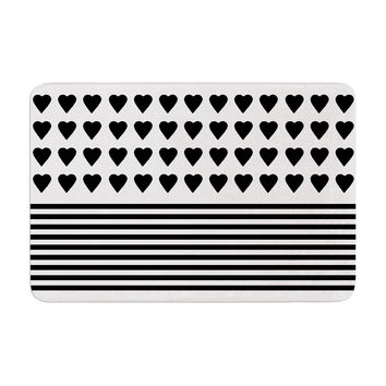 "Project M ""Heart Stripes Black and White"" Monochrome Lines Memory Foam Bath Mat"