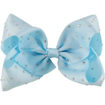 "Rhinestone 8"" Hair Bow, Baby Blue"