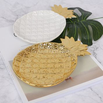 Ceramic Bowl Dish for Fruits Vegetables Jewelry Candy Bread Biscuits Holder Tray Plate Pieapple Shaped