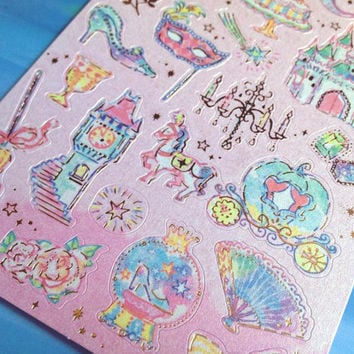 cinderella sticker princess fairy tale story sticker little princess rabbit cat seal sticker Princess party theme Series label scrapbook