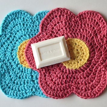 Crochet Flower Dishcloths,  Customizable Colorful Wash Rags, Trivets, Table Decoration, Perfect for Spring & Summer
